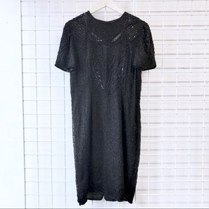 Vintage Dresses - 1980s Vintage Black Beaded Silk Shift Dress